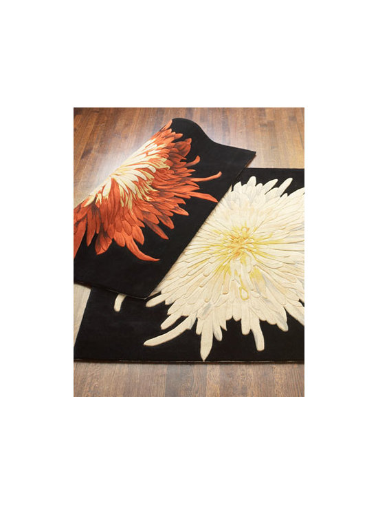 "Horchow - Noury ""Caroline Mums"" Rug - A brilliantly colored mum explodes against a square of black. Hand tufted of wool. Available in White or Red; choose color below. Imported. Sizes are approximate. We recommend using a rug pad with every indoor rug to prolong its beauty by minimizing..."