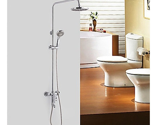 Shower Faucets - Chrome Finish Single Handle Contemporary Style Ceramic Valve Shower Faucets--FaucetSuperDeal.com