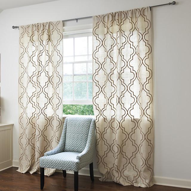 Burlap crewel trellis panel traditional curtains by for Window trellis design