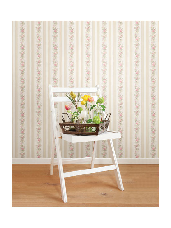 Vintage Wallpaper - Pretty vintage floral stripe wallpaper available from Brewster Home Fashions