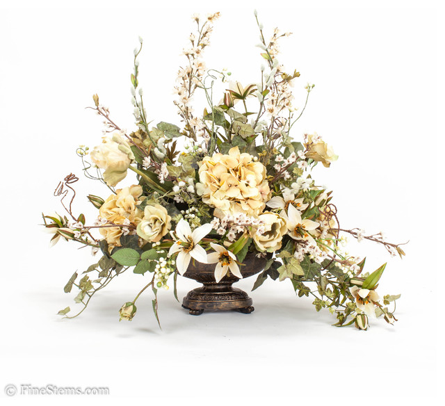 Cream Silk Floral Arrangement Traditional Artificial