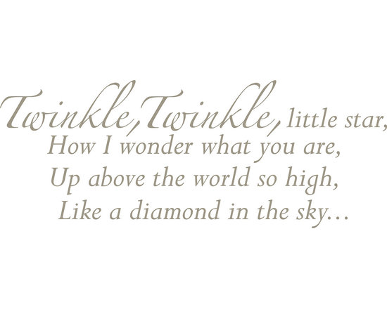 """WallPops - Twinkle, Twinkle - Wall Wishes Wall Decals - A classic poem for your wall, """"Twinkle, Twinkle, Little Star"""" Wall Wishes brings this beloved nursery rhyme to life. Inspire a song with these words on your wall while creating a great decor focal point for a nursery or child's room. Twinkle, Twinkle Wall Wishes come on a single 17 1/4"""" x 39"""" sheet and contains 15 total pieces."""