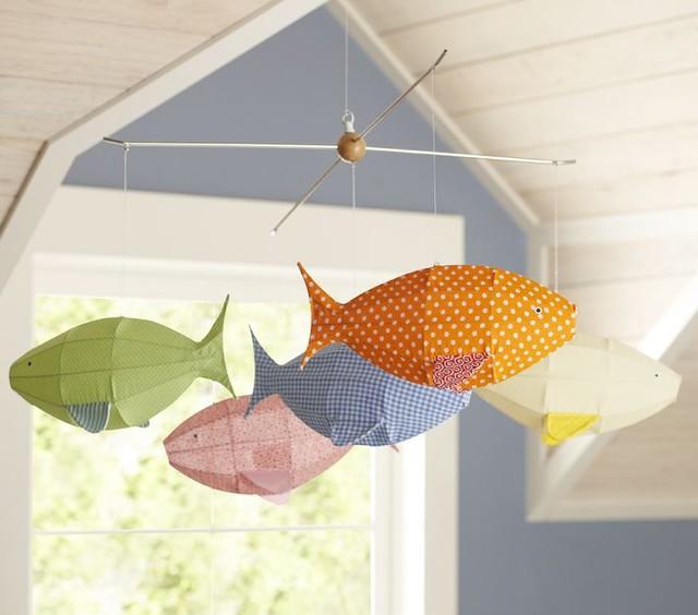 Fabric Fish Mobile contemporary-mobiles