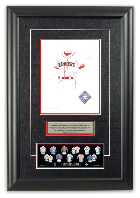 Original art of the MLB 1999 Texas Rangers uniform traditional-sports-and-game-room-memorabilia