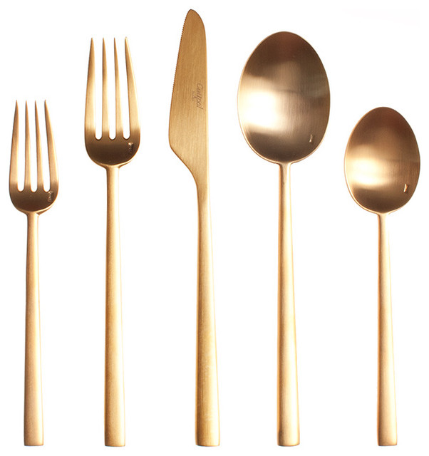 Rondo Gold Cutlery 5 Piece Set Modern Flatware And Silverware Sets By Horne