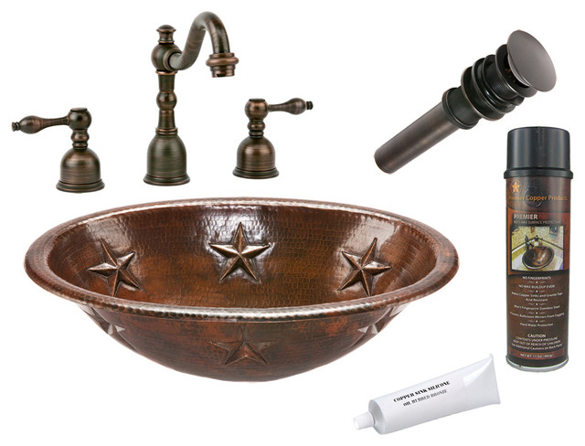 Oval Star Self Rimming Sink w/ ORB Faucet rustic-bathroom-sinks