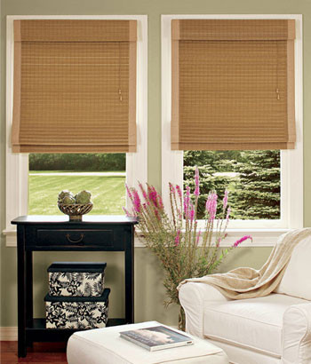 Roman Shades Bamboo Insulated Roman Shade traditional window treatments