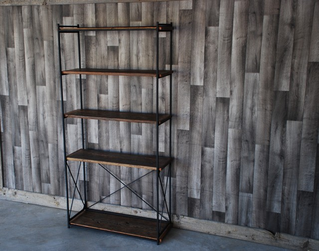 Reclaimed Wood And Metal Wall Shelves: Reclaimed Wood & Iron Bookshelf