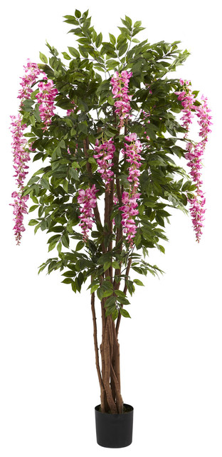 Nearly Natural 6.5' Wisteria Silk Tree traditional-artificial-flowers-plants-and-trees