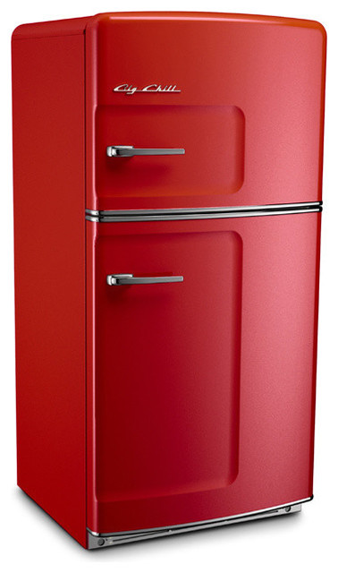 Retro Fridge, Cherry Red, With Ice Maker - Midcentury - Refrigerators - by Big Chill