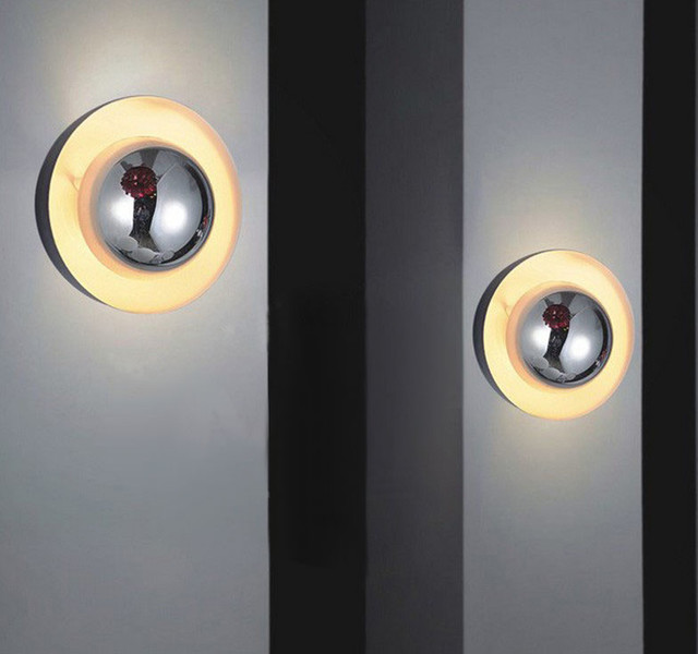Modern Baked Metal Round Wall Sconce - Contemporary - Wall Sconces - new york - by PHOENIX LIGHTING