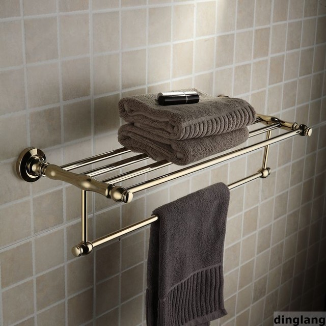 24 polished brass towel bar with shelf contemporary