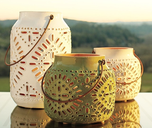 Punched Ceramic Lanterns eclectic-candles-and-candleholders