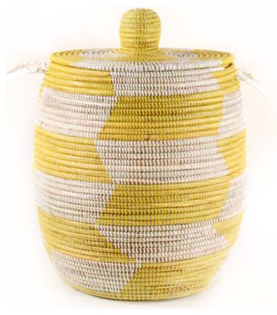 Large Senegalese Lidded Basket/Hamper, Yellow modern-hampers