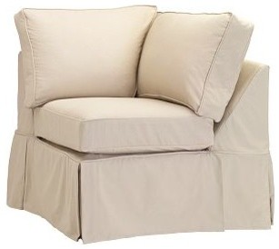 PB Basic Corner Chair Slipcover, Twill Metal Gray traditional-living-room-chairs