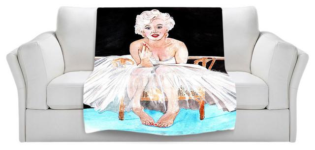 Throw Blanket Fleece - Marilyn Ballerina contemporary-throws