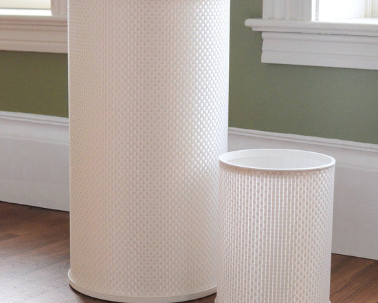 None - White Round Basketweave Hamper and Wastebasket Set - Give your bathroom or laundry room matching accents with this two-piece hamper and wastebasket set. Finished in a clean white basketweave pattern,this functional set is constructed with PVC and durable polyester fabric.