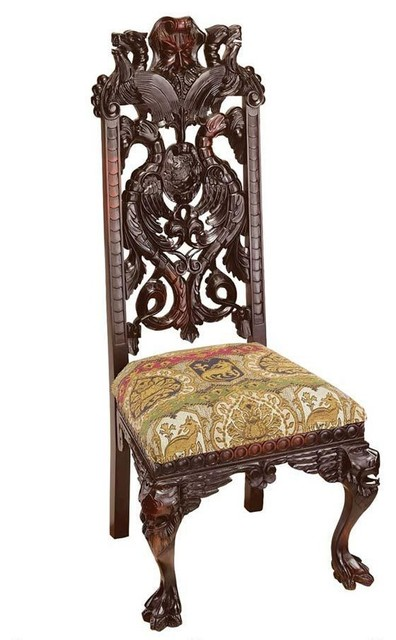 Hand Carved Solid Mahogany Antique Replica Manor Chair  : traditional dining chairs from www.houzz.com size 396 x 640 jpeg 57kB