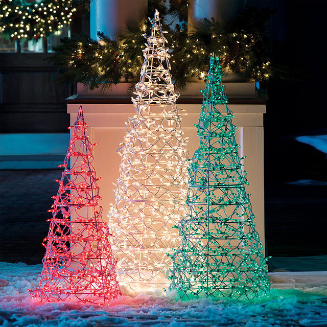 lighted cone tree frontgate christmas lights traditional outdoor. Black Bedroom Furniture Sets. Home Design Ideas