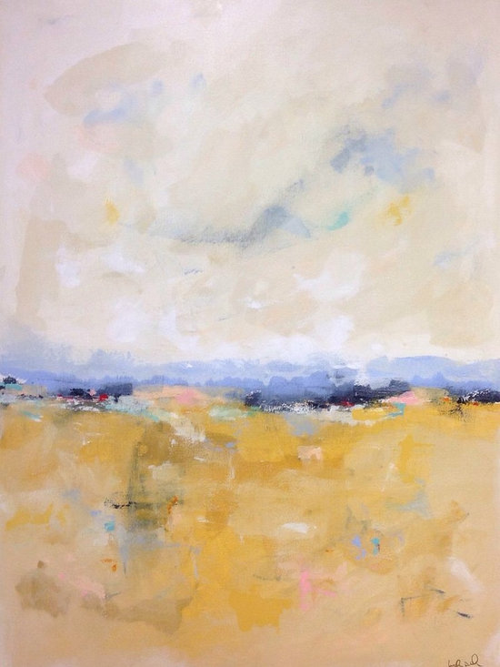"""Linda Donohue - Large Yellow Gold Abstract Landscape- River Road 36 x 48 - This is an original acylic painting on gallery wrapped canvas. The sides are painted a sand color from the front and it's ready to hang as it is or be put into a frame. It measures 36"""" x 48"""" x 1 1/2""""d and is inspired by the beautiful Northern California where I live."""