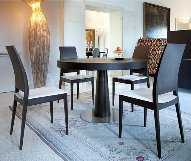 Ascot L Extendable Round Dining Table With Break Wenge Chairs Dining Set Mo