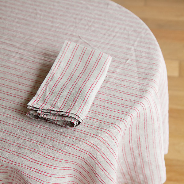 Tablecloth, Natural Red Stripe traditional-tablecloths