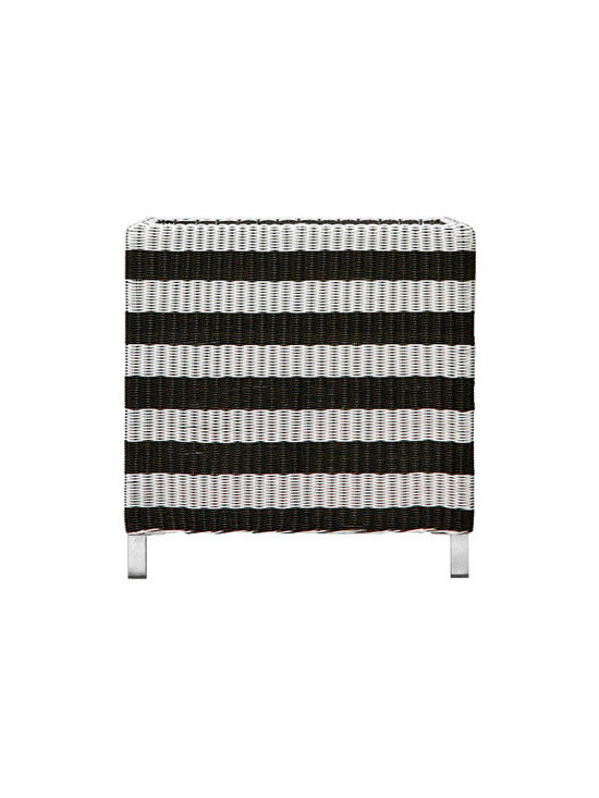 MARILYN Planter - Never has wicker looked this fun. I love the playful horizontal black and white stripes and think they would contrast nicely with colorful flowers.