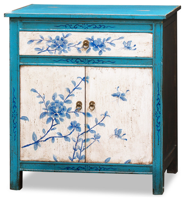 Hand painted tibetan floral motif cabinet asian for Hand painted oriental furniture