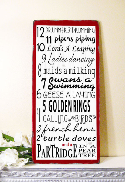 12 Days of Christmas Typography Word Art Sign by Toe Fish Art