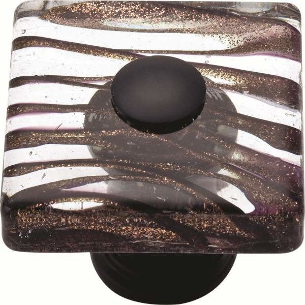 Atlas 3205-O Glass Milky Way 1 1/2-Inch Square Door Knob Rubbed Bronze - Cabinet And Drawer ...