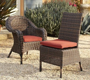 Torrey All Weather Wicker Dining Chair Set 4 Side 2 Arm