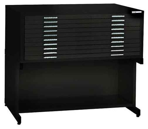 Ten-Drawer Black Stackable File Unit & Base Shelf (36 in. x 48 in.) contemporary-filing-cabinets
