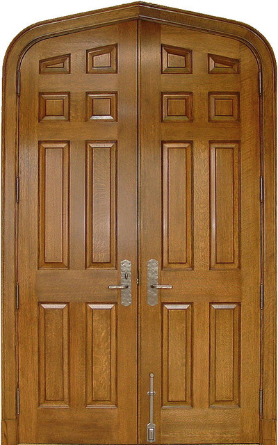 arch 8 panel white oak solid wood double door