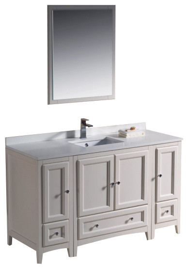 """Fresca Oxford 54"""" Antique White Vanity W/ 2 Side Cabinet, Antique White, 54 modern-bathroom-vanities-and-sink-consoles"""