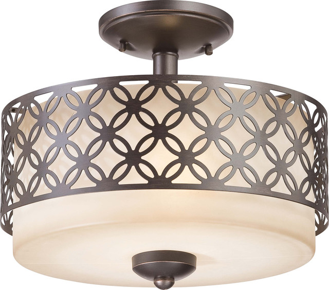 Nuvo Lighting 60-4572 Margaux 2-Light Semi-Flush Fixture with Chestnut Glass transitional-ceiling-lighting