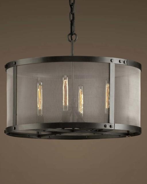 Industrial Iron Mesh Drum Chandelier Ceiling Lighting Modern Flush Mount Ceiling Lighting