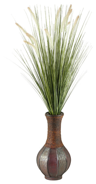 D Amp W Silks Tall Onion Grass In Tall Wooden Vase Traditional