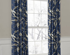 Navy Bird & Branch Rod Pocket Drapery curtains