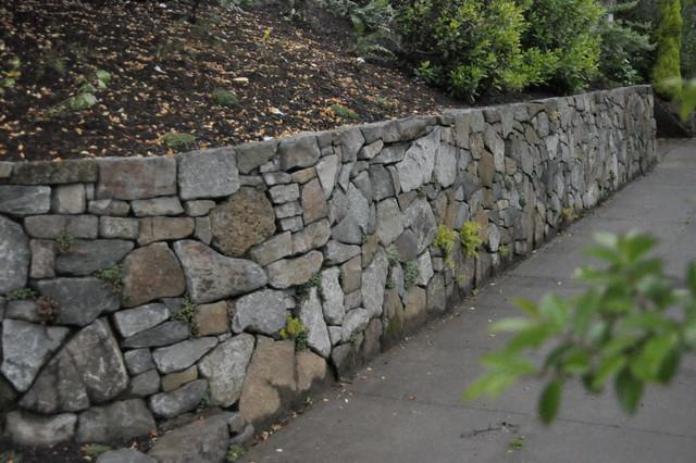 Basalt Stone Wall : Basalt retaining wall eclectic landscape portland