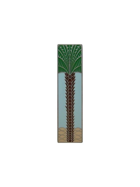 """Inviting Home - Vertical Royal Palm Pull (antique pewter-pale blue) - Hand-cast Vertical Royal Palm Pull in antique pewter-pale blue finish; 1""""W x 4""""H; Product Specification: Made in the USA. Fine-art foundry hand-pours and hand finished hardware knobs and pulls using Old World methods. Lifetime guaranteed against flaws in craftsmanship. Exceptional clarity of details and depth of relief. All knobs and pulls are hand cast from solid fine pewter or solid bronze. The term antique refers to special methods of treating metal so there is contrast between relief and recessed areas. Knobs and Pulls are lacquered to protect the finish."""