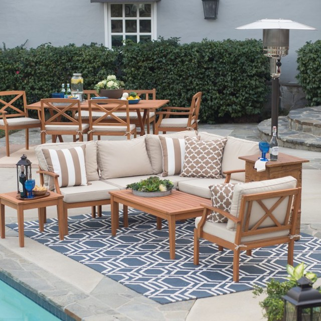 Belham Living Brighton Outdoor Wood Conversation Sectional