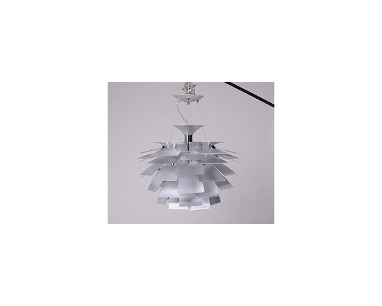 """Artichoke Lamp - The intricate Artichoke Lamp was designed by architect and lighting pioneer Poul Henningsen in 1958. The lamp is composed of a series of overlapping aluminum """"leaves,"""" which reflect light from the bulb and produce soft glare-free light for the entire room. Its impressive size makes this lamp suitable for high ceilings or commercial spaces."""
