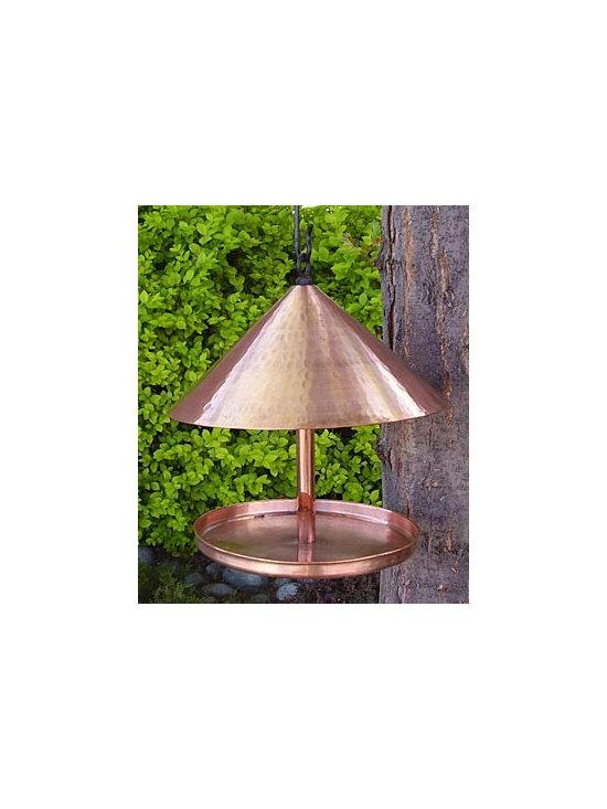 Copper Cone-Topped Birdfeeder -
