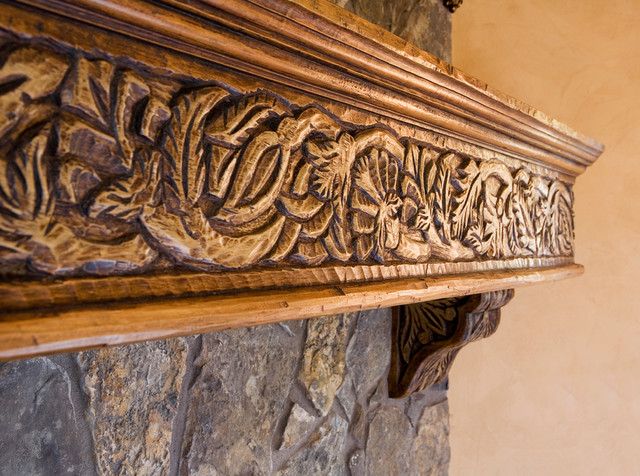 Custom Wood Carving - Mediterranean - Fireplace Mantels - albuquerque - by David Naylor Interiors
