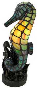 Tiffany Style Colored Glass Seahorse Accent Lamp traditional-table-lamps