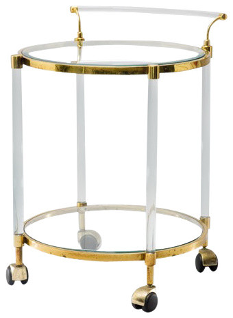 Antique French Lucite and Brass Over Chrome Bar Cart contemporary bar carts