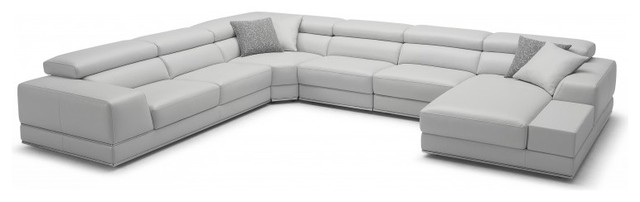 Bergamo grey sectional extended leather sofa sectional for Bergamo grey sectional leather sofa