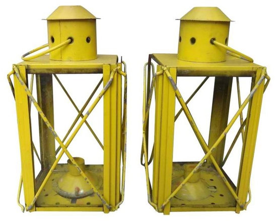 Vintage Lanterns - A fun set of yellow lanterns.  Perfect for the summer cabin or cottage.  a great little accent in an eclectic home, adding that little bit of nostalgic charm to any room.  Place them on a mantel, bookcase or garden ledge.