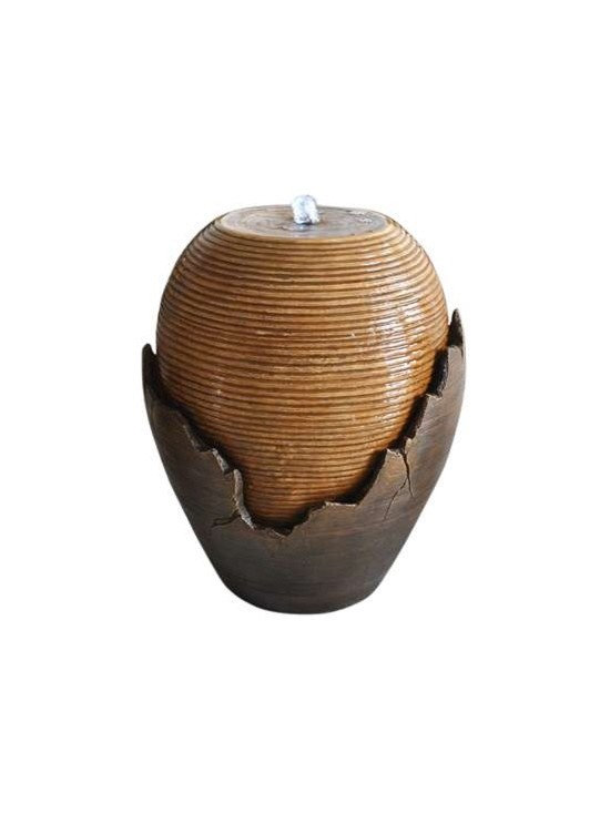 Broken Vase Fountains - This antique brown broken vase features illuminated water bubbling from inside the top and spilling down around all sides of the interior vessel. It is made from a durable and lightweight fiberglass resin and LED lighting and pump are included. For indoor use only.
