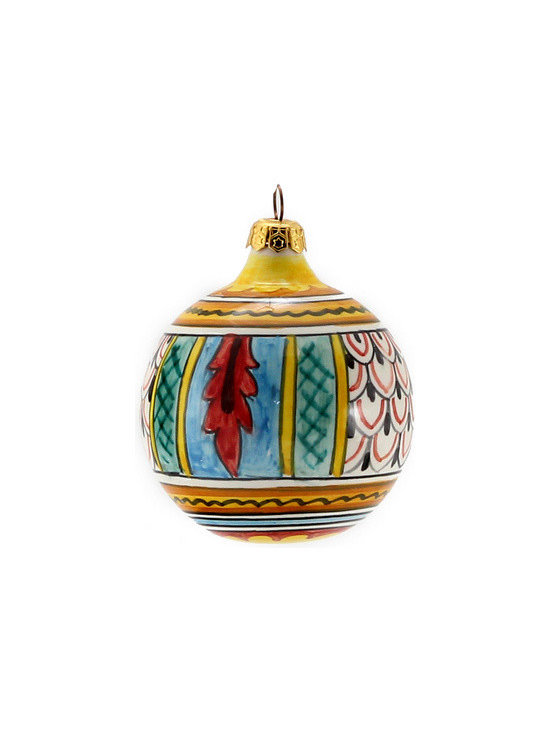 Artistica - Hand Made in Italy - Christmas Ornament: Round Ball - Hand Painted Deruta Large - Christmas Ornament
